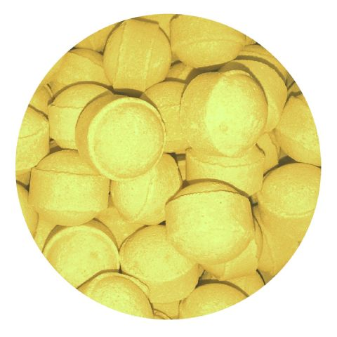 30 x Lemon Mini Bath Marbles Fizzers Bath Bubble & Beyond 10g